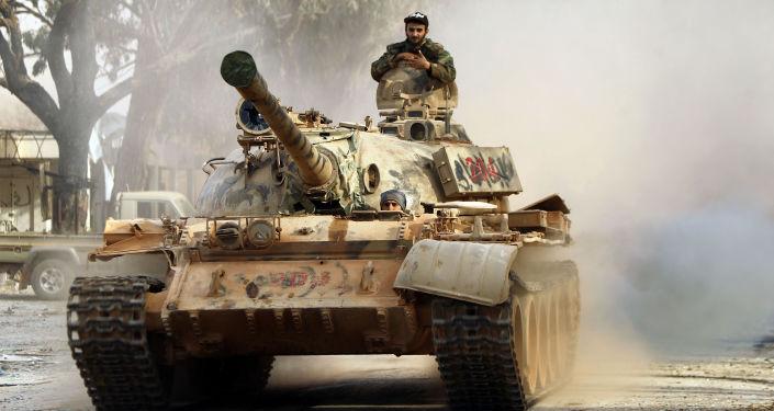 Tanque T-55 del Ejército Nacional de Libia