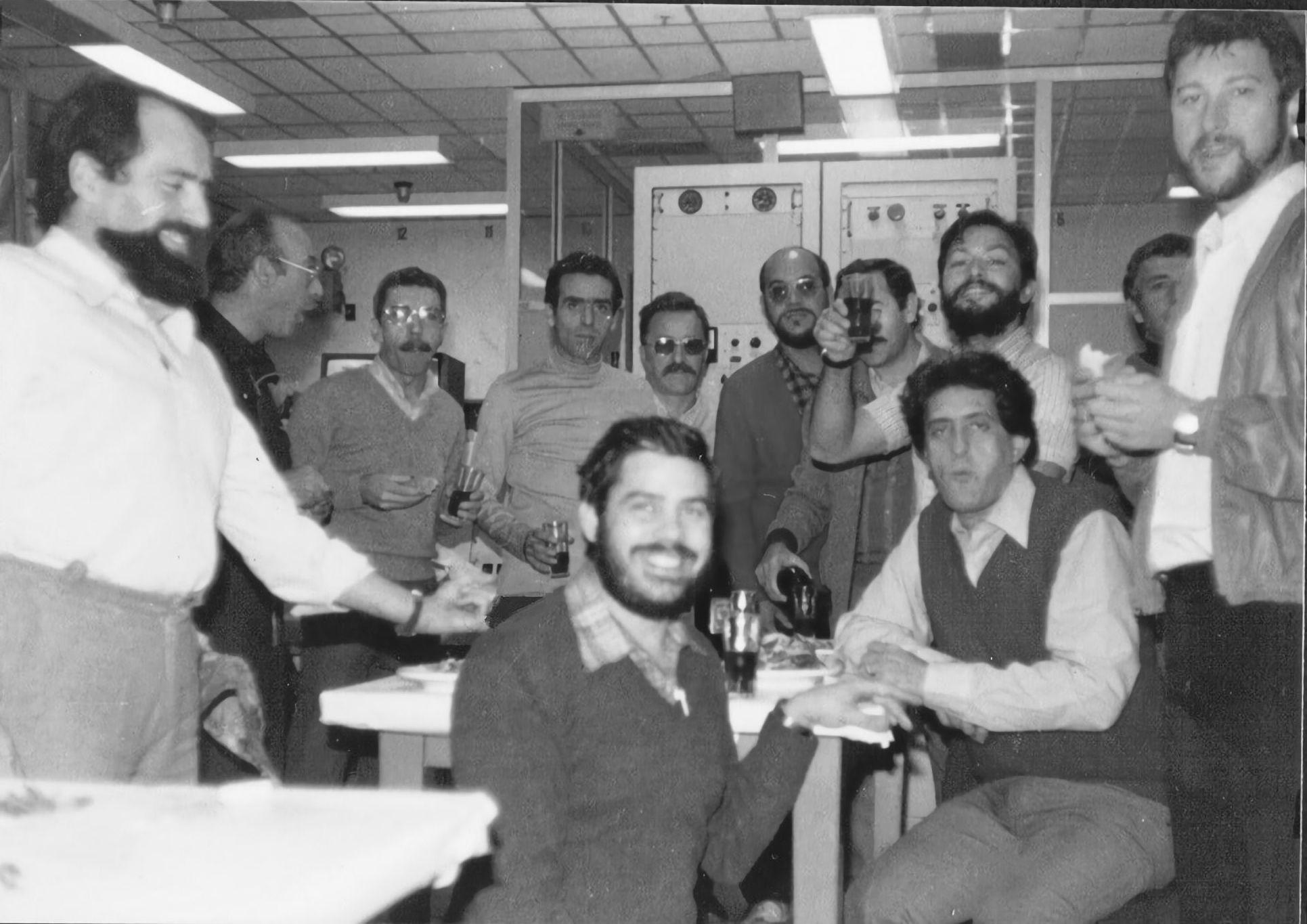 20 de julio de 1969. Estación de Robledo de Chavela. Celebración por el éxito del aterrizaje del Apolo 11
