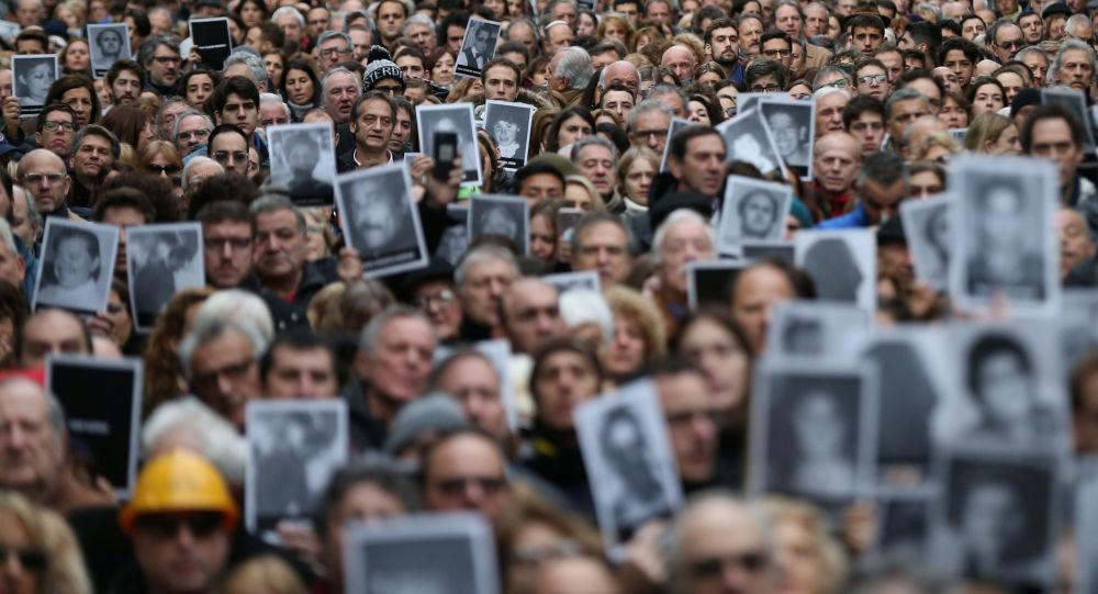 Homenaje por el atentado a la AMIA en Buenos Aires, el 18 de julio de 2019