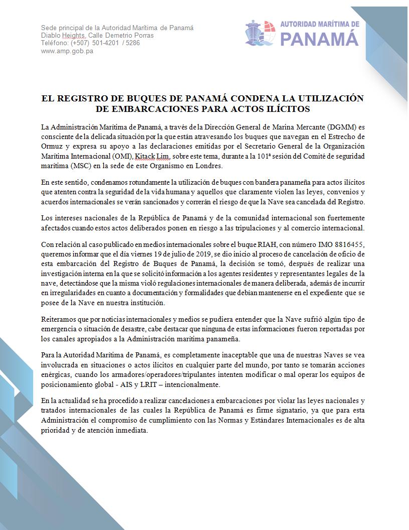 Nota de la Autoridad Marítima de Panamá en la que condena los actos ilícitos del petrolero Riah, detenido por Irán