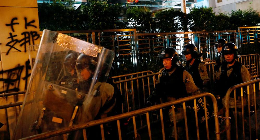 La policía en las protestas en Hong Kong