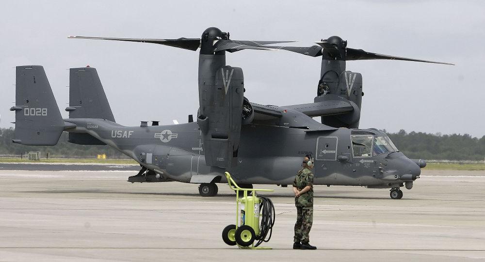 Un CV-22 Osprey en una base aérea estadounidense