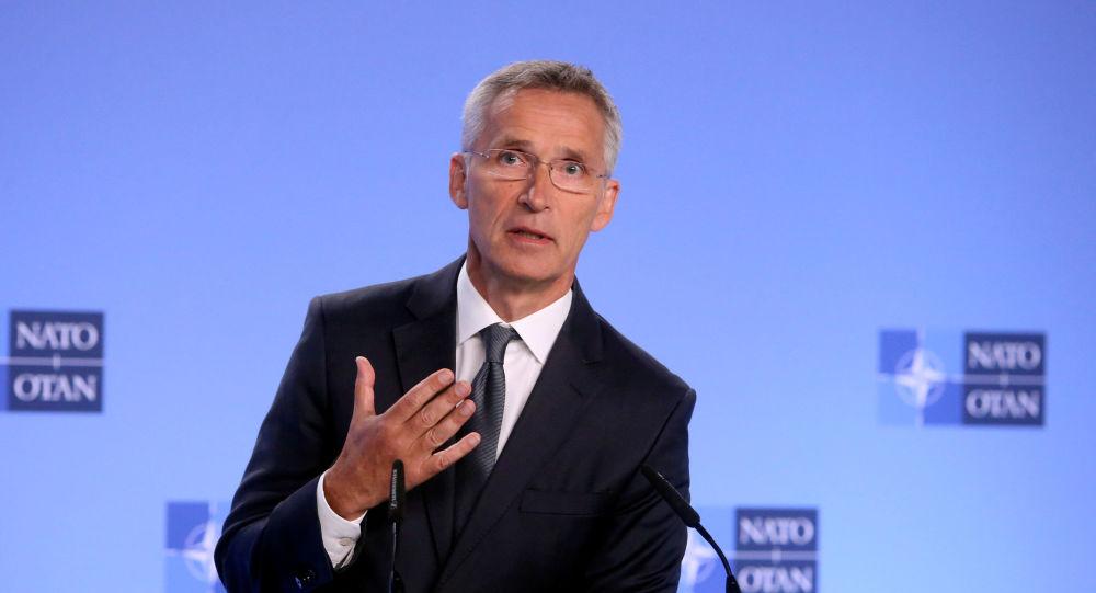 Jens Stoltenberg durante la conferencia en Bruselas