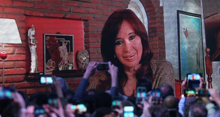 Cristina Fernández de Kirchner en la pantalla durante las primarias en Argentina