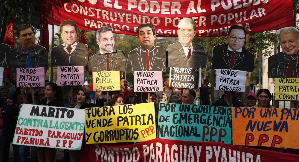 Manifestantes en Paraguay