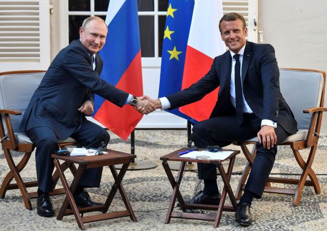 La reunión del presidente ruso Vladimir Putin y su homólogo francés Emmanuel Macron