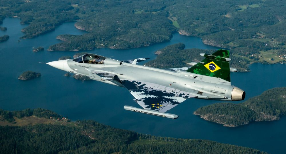 Caza Gripen A de la Fuerza Aérea de Brasil