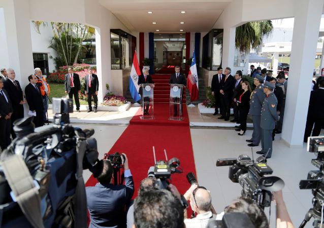 Presidente de Chile, Sebastián Piñera, su homólogo paraguayo Mario Abdo Benítez