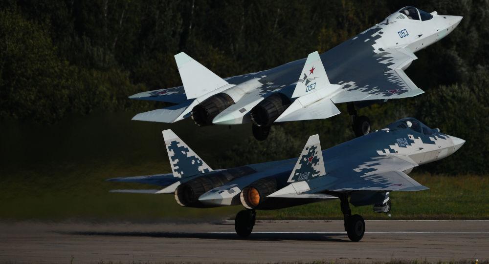 Los cazas rusos de quinta generación SU-57 (archivo)