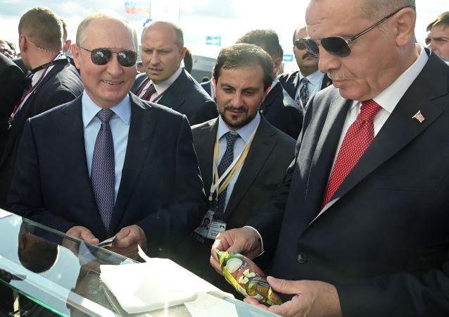 Vladímir Putin, presidente de Rusia, y Recep Tayyip Erdogan, presidente de Turquía, en el Salón Aeroespacial MAKS 2019