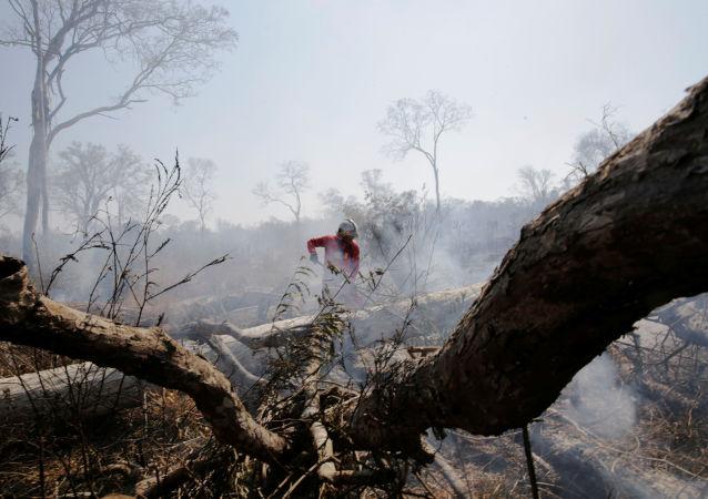 Un bombero en los incendios forestales en Bolivia