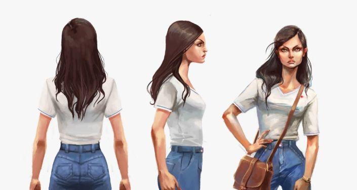 Abigaíl, una de las protagonistas del videojuego chileno Guerras Sucias, desde distintos angulos en una de sus identidades