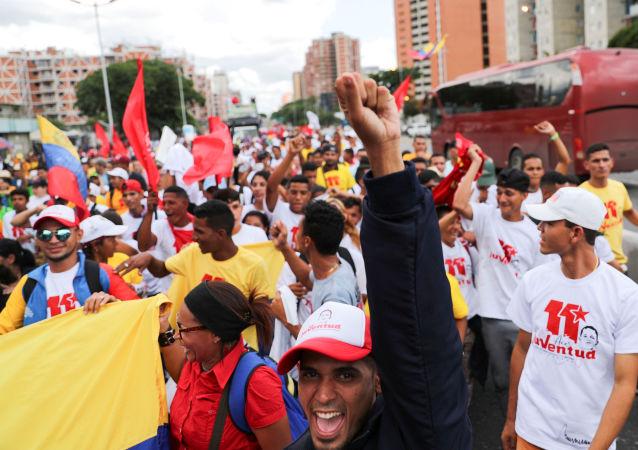 Una movilización en Caracas, Venezuela