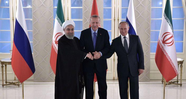 Recep Tayyip Erdogan, presidente de Turquía, recibe en Ankara a Hasán Rohaní, presidente de Irán, y Vladímir Putin, presidente de Rusia, el 16 de septiembre de 2019