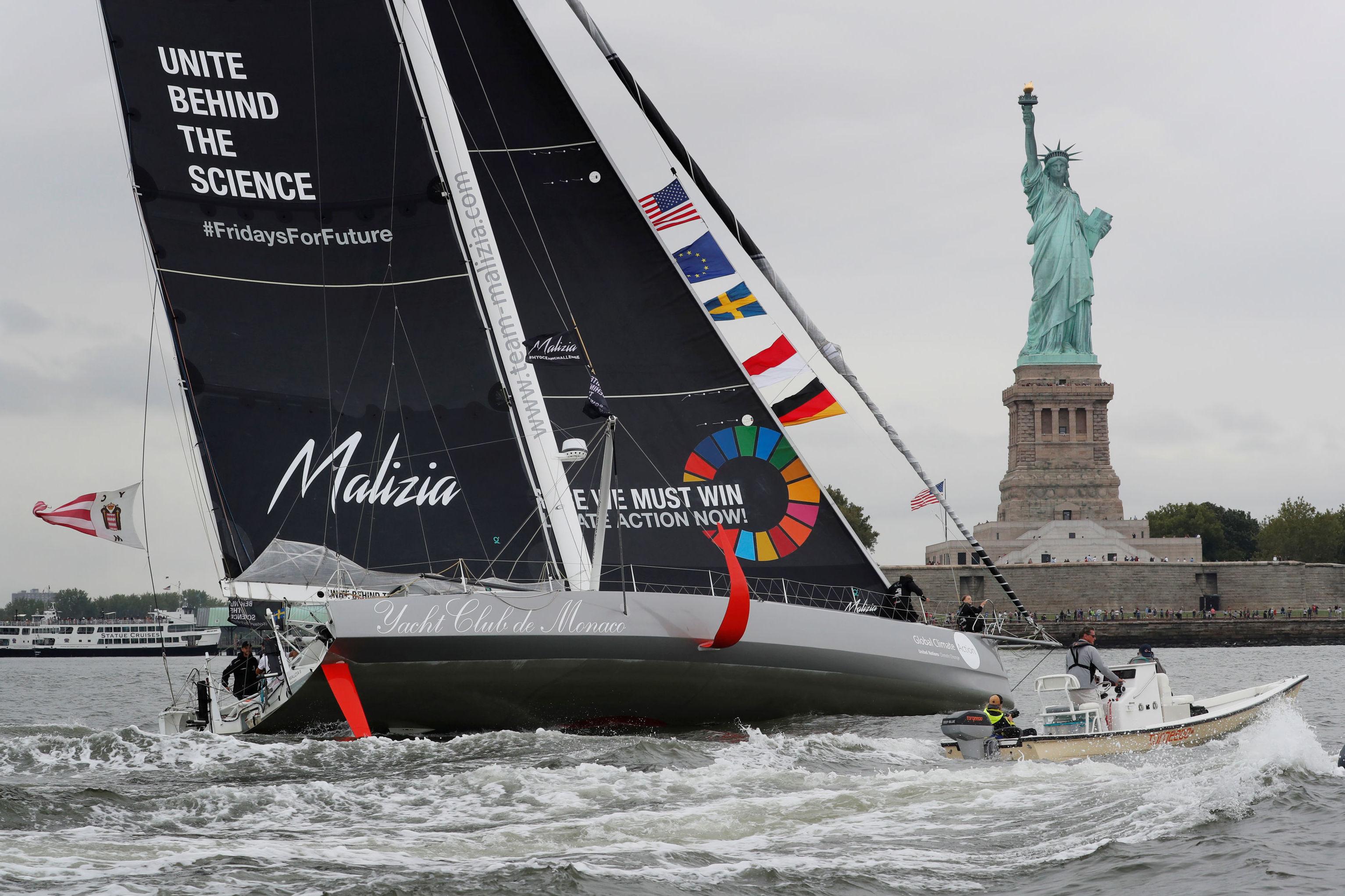 El yate Malizia II que trajo a Greta Thuberg a Nueva York