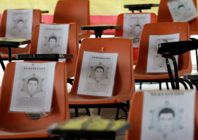 Los retratos de los studentes desaparecidos en Ayotzinapa