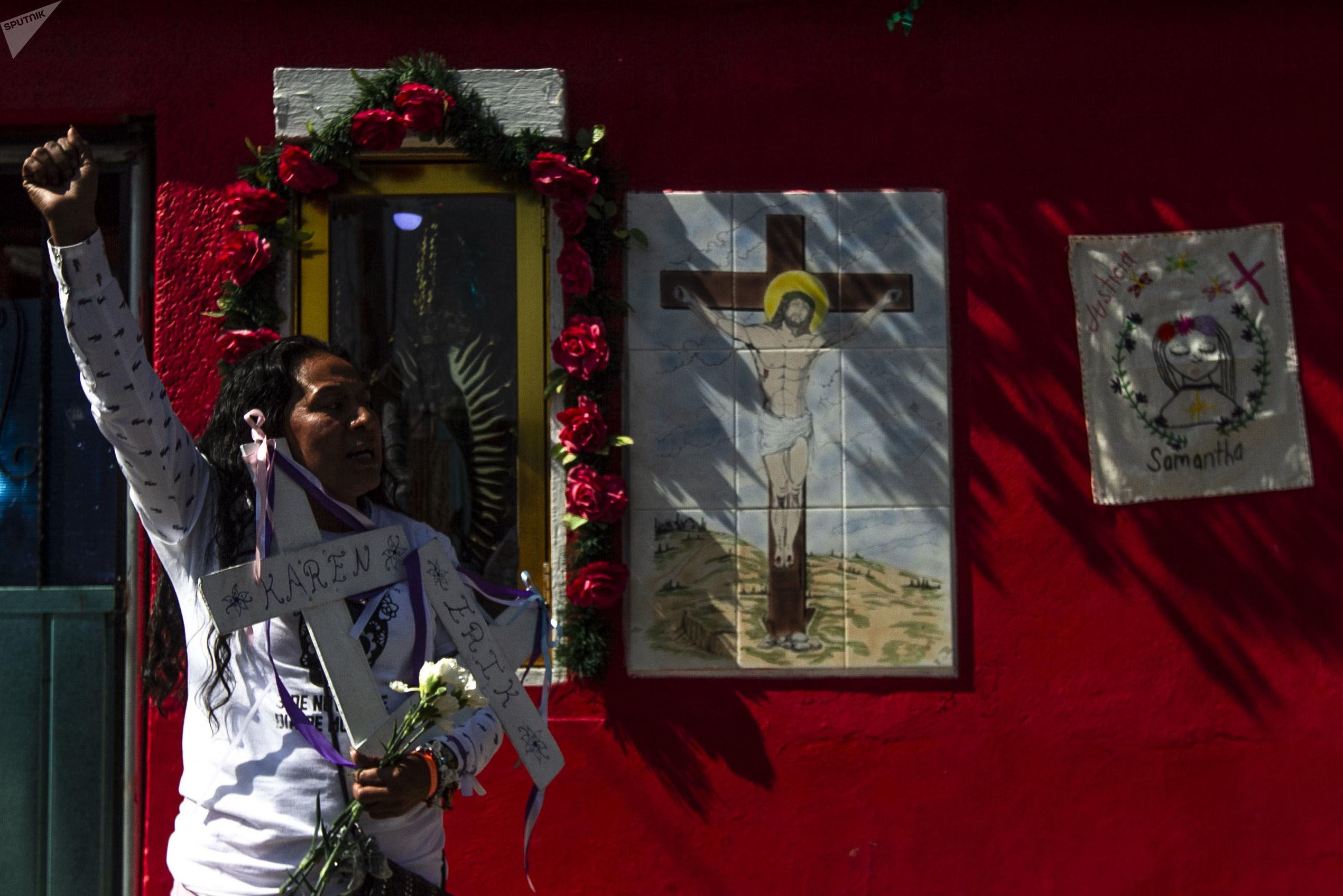 Sacrisanta Mosso durante la caravana contra los feminicidios en Ecatepec, Estado de México