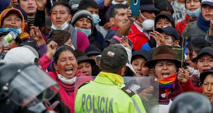 Los indígenas ecuatorianos protestan en Quito