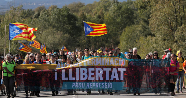 Protestas de los independentistas catalanes en España