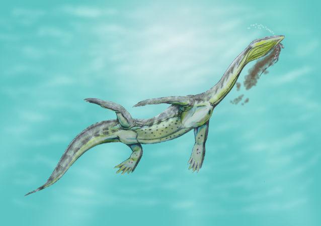 Recreación artística de un Ceresiosaurus calcagnii