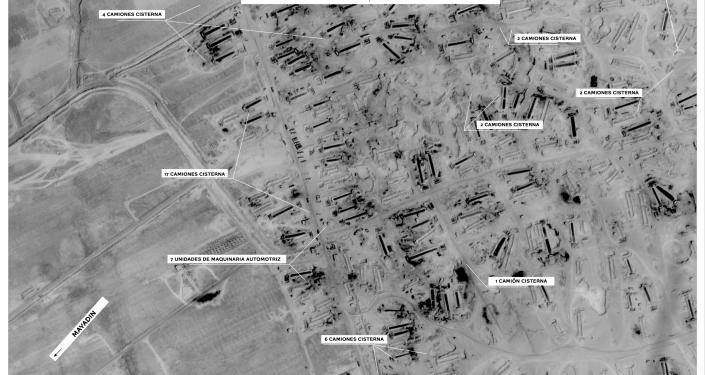 Imagen satelital del Ministerio de Defensa ruso muestra los equipos técnicos concentrados para el contrabando de petróleo en Siria