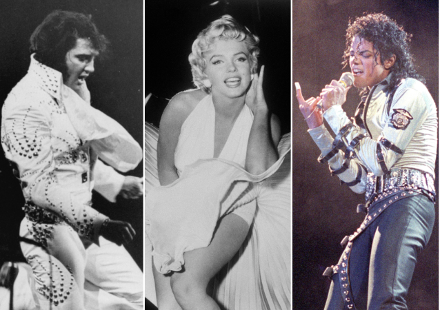 Elvis Presley, Marilyn Monroe y Michael Jackson