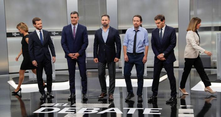 Los líderes de los cinco principales partidos políticos de España durante un debate electoral