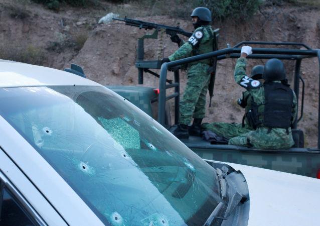 La Guardia Nacional mexicana en el lugar del masacre