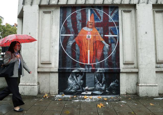 Grafiti con un retrato de Julian Assange