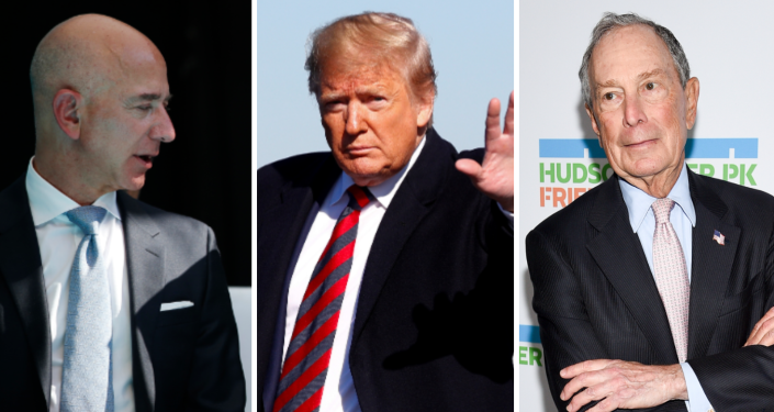 Jeff Bezos, Donald Trump y Mike Bloomberg