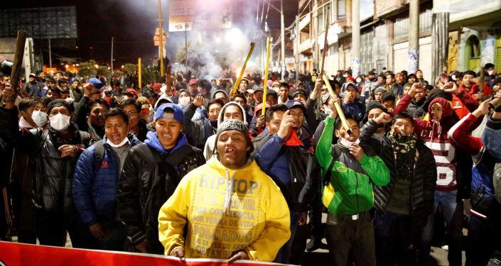 Campesinos en la ciudad de El Alto, Bolivia