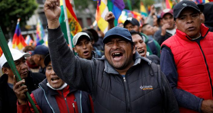 Manifestantes en apoyo a Evo Morales en La Paz, Bolivia