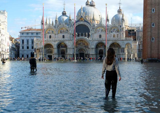 La inundación en Venecia, Italia