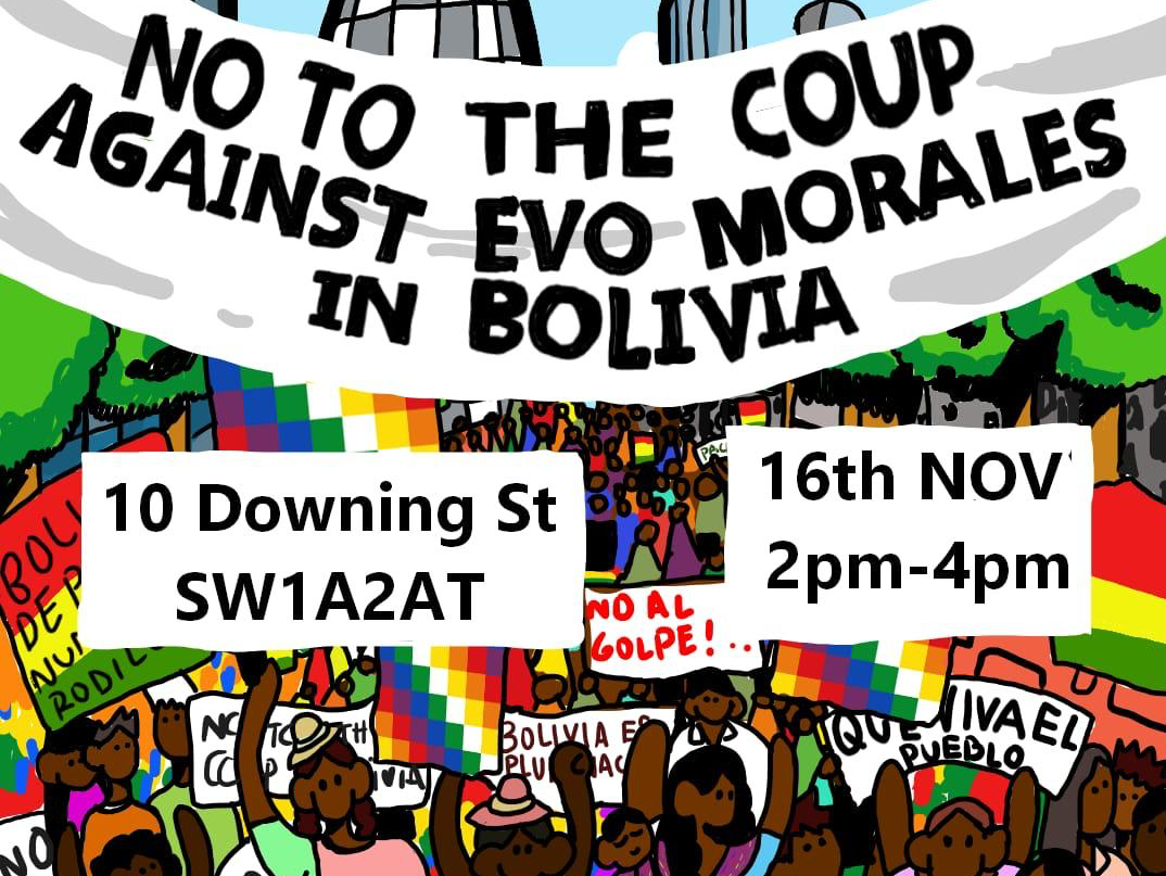 Cartel de la protesta por el Golpe de Estado contra Evo Morales en Downing Street, Londres