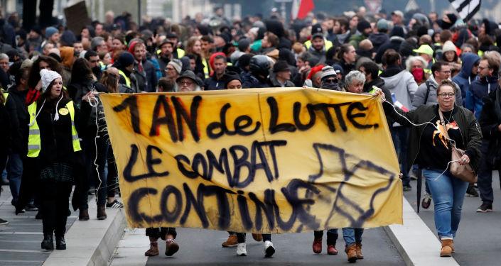 Protestas en Francia en el marco del aniversario del movimiento 'chalecos amarillos'