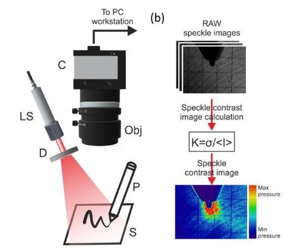 El esquema del dispositivo para medir rasgos especiales de la escritura por dispersión de luz dinámica