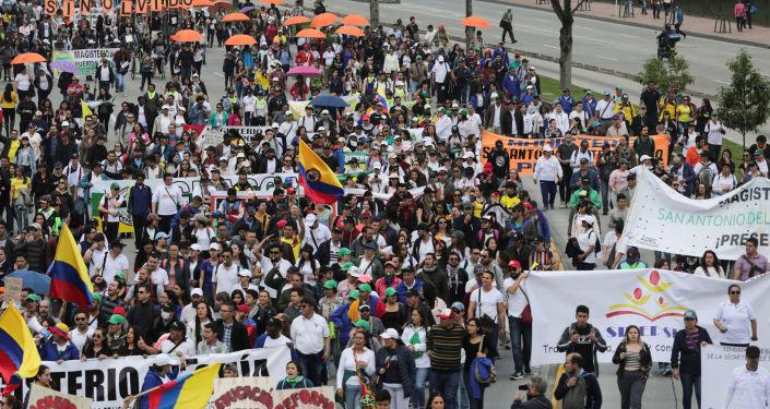 Las protestas durante el paro nacional en Colombia