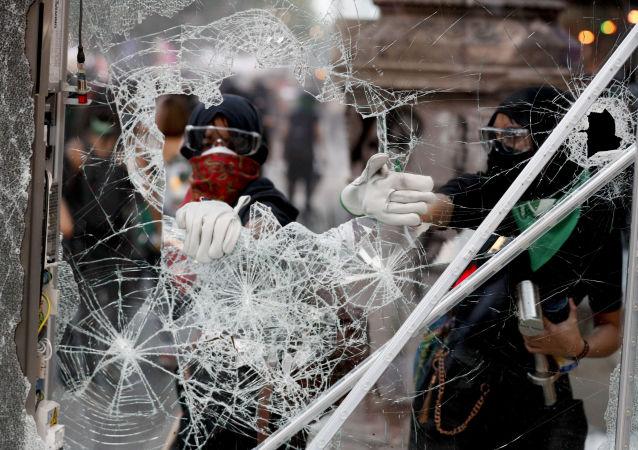 Protesta en Ciudad de México por el Día Internacional de la Eliminación de la Violencia contra las Mujeres, el 25 de noviembre de 2019