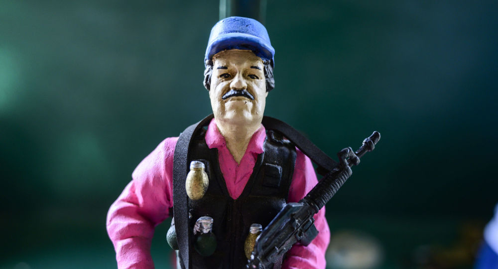 Una figura del narcotraficante Joaquín El Chapo Guzmán