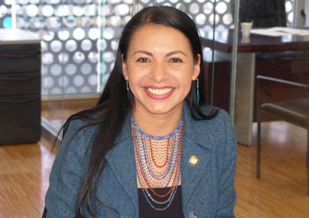 Diana Atamaint, presidenta del Consejo Nacional Electoral de Ecuador
