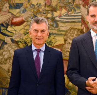 El presidente argentino, Mauricio Macri, y el rey de España, Felipe VI