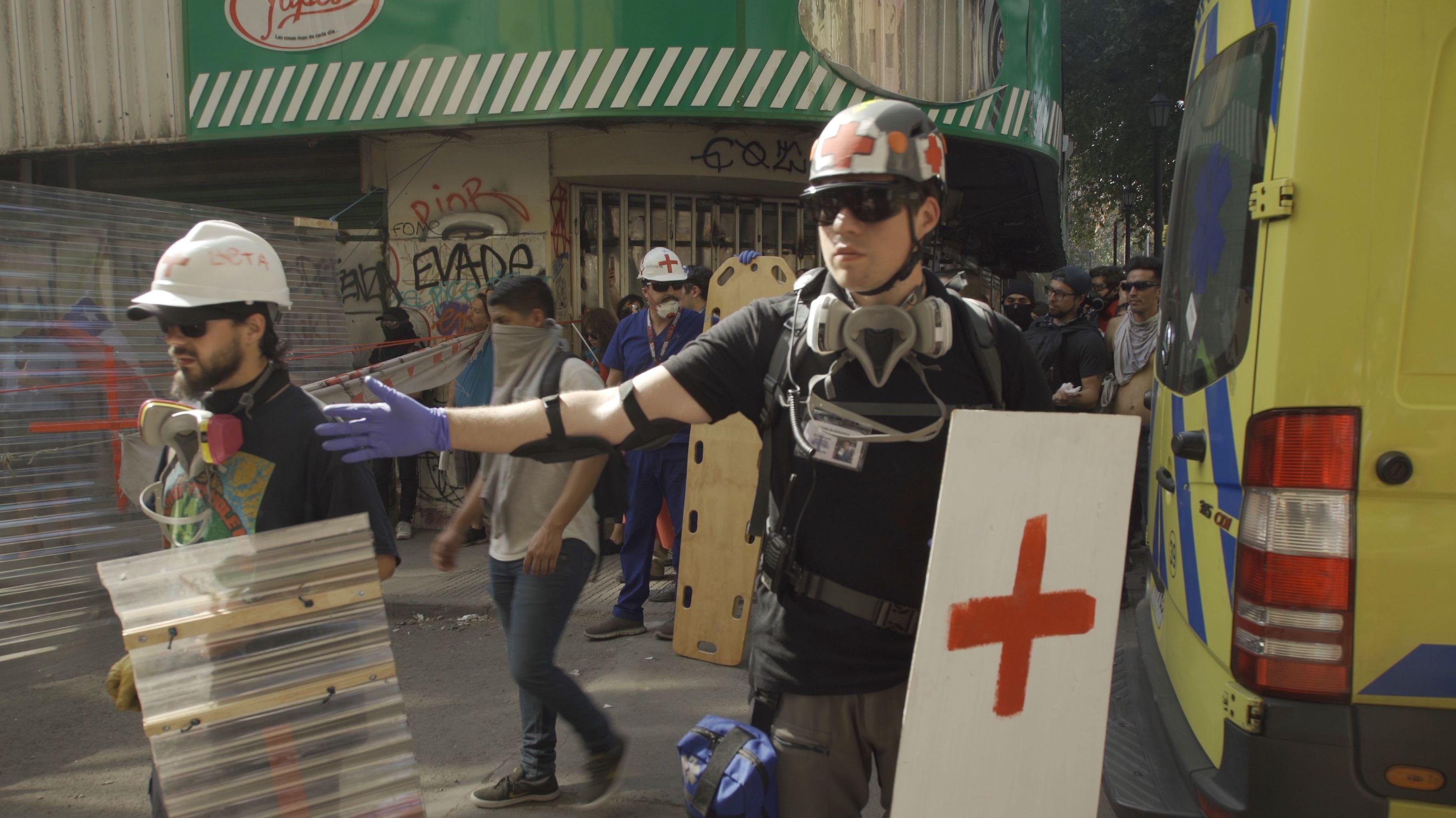 Piquete sanitario en calle Vicuña Mackenna, Santiago de Chile