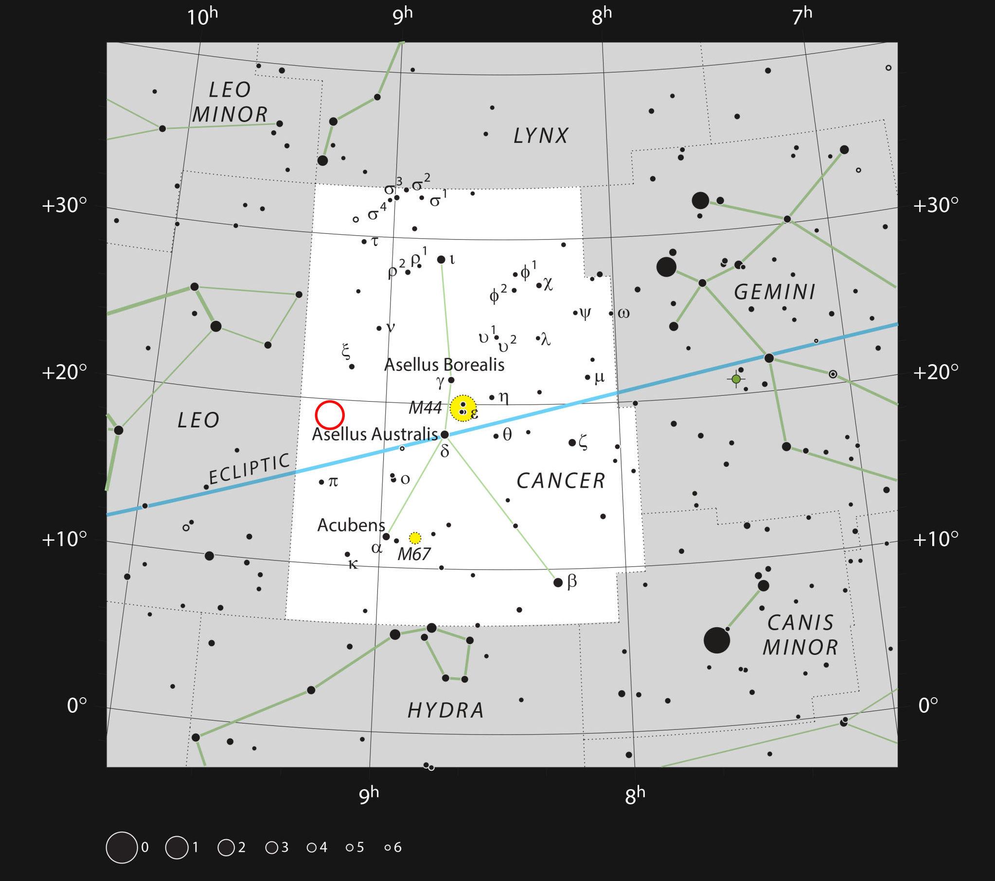 Ubicación de WDJ0914+1914 en la constelación de Cáncer
