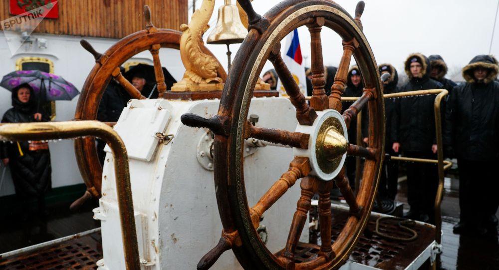 Timón del velero ruso Sedov