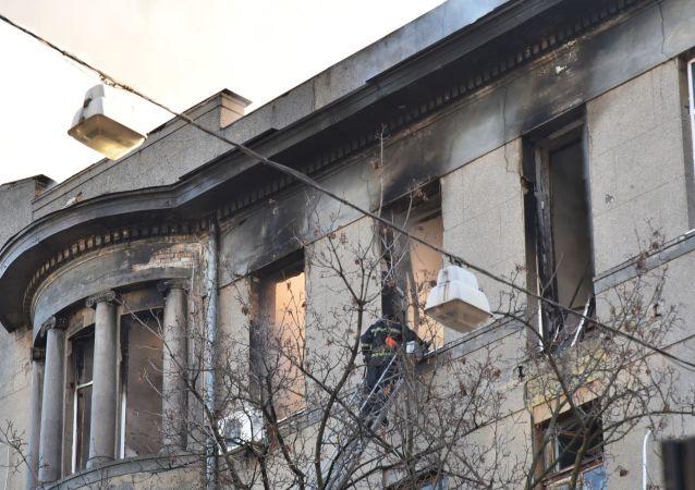 Instituto en Odesa (Ucrania) tras el incendio