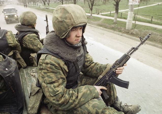 Soldado ruso en Chechenia