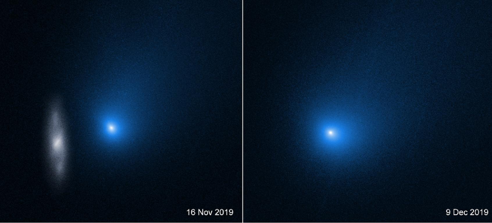 Dos imágenes del cometa 2I/Borisov fotografiadas por Hubble