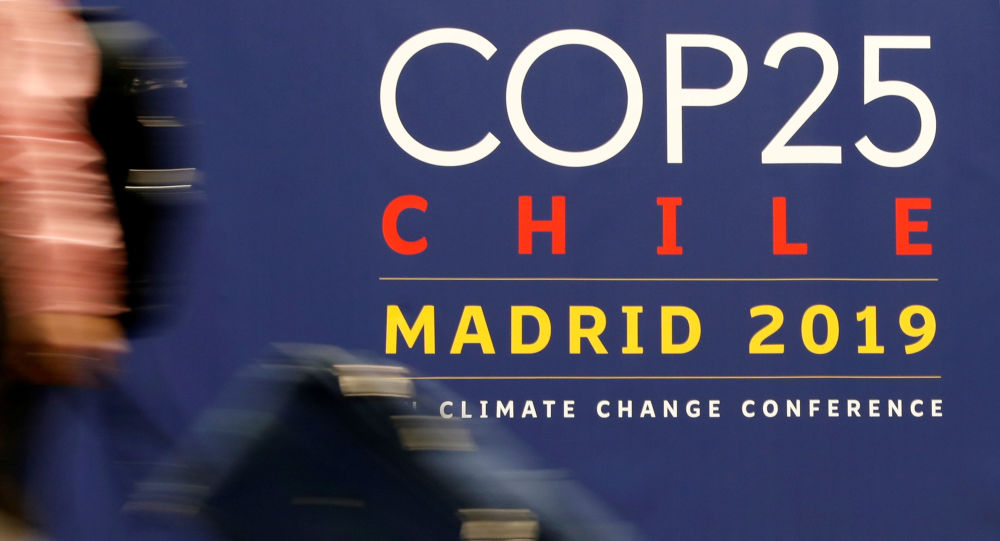 El logo de la COP25 en Madrid, España