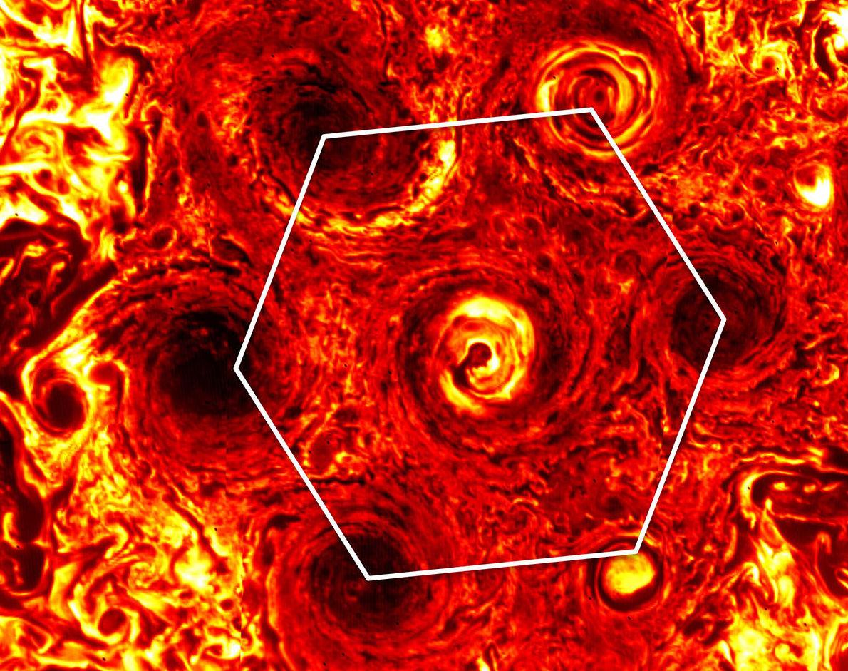 La NASA ahora muestra que ciclones en Júpiter formaron un hexágono