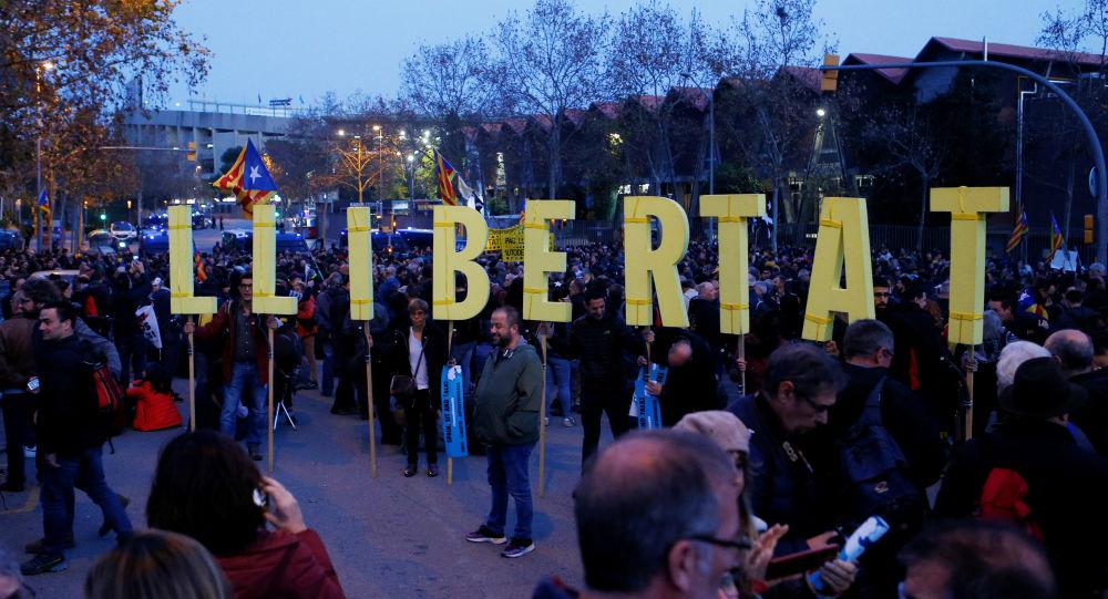 La manifestación antes del partido Real-Barcelona